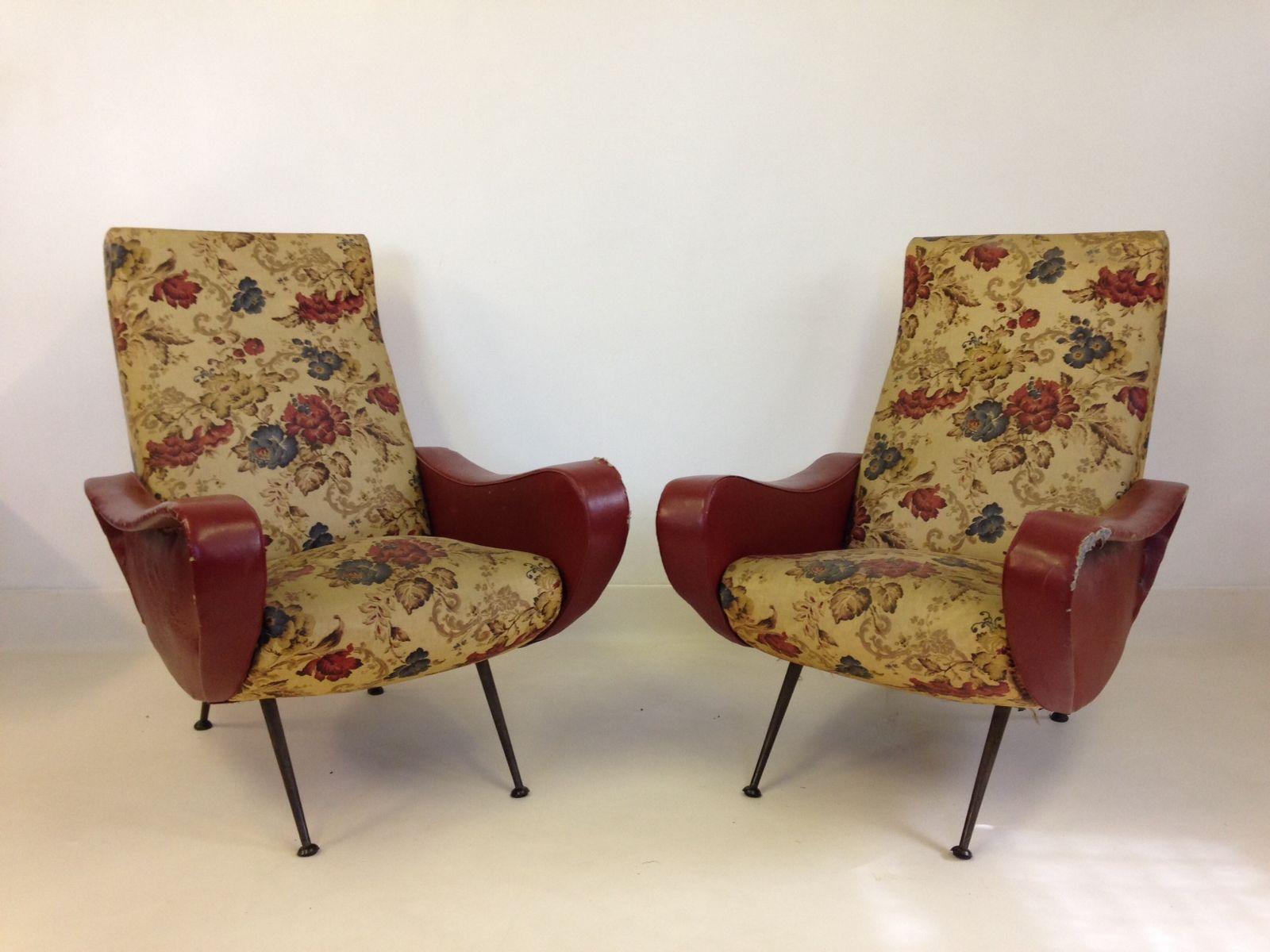 italienische sessel mit blumenmuster 1950er 2er set bei pamono kaufen. Black Bedroom Furniture Sets. Home Design Ideas
