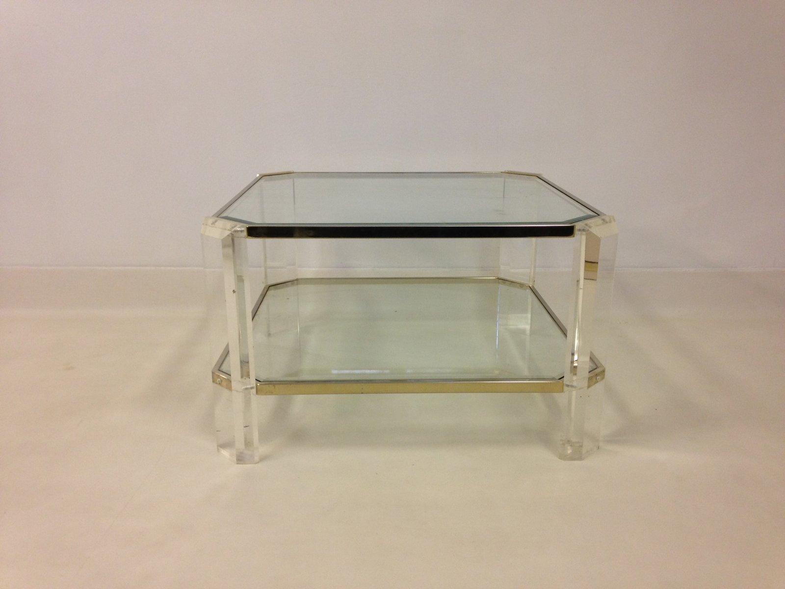 Couchtisch aus plexiglas und gold frankreich 1970er bei for Couchtisch plexiglas