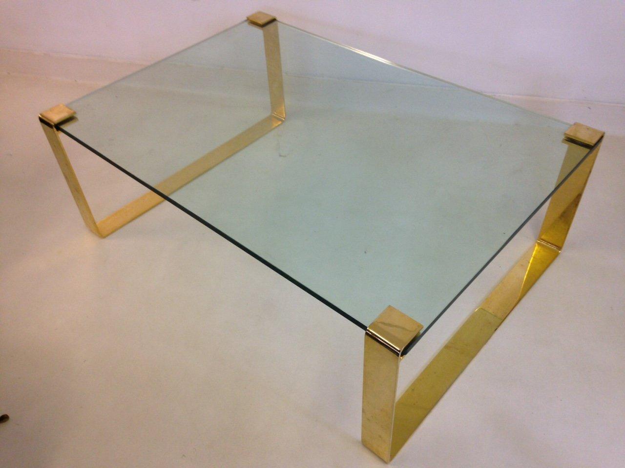 goldener vintage metal glas couchtisch bei pamono kaufen. Black Bedroom Furniture Sets. Home Design Ideas