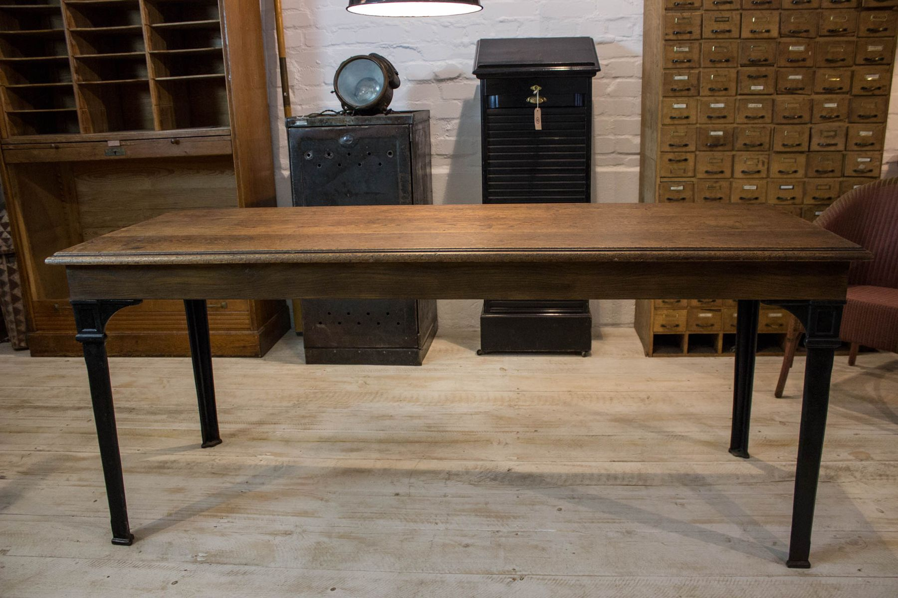 Vintage oak cast iron dining table for sale at pamono for Cast iron dining table