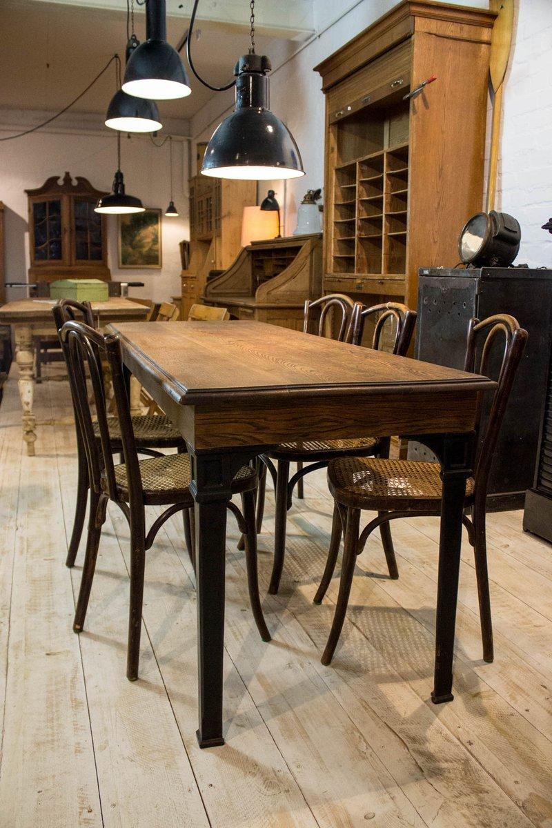 vintage eichenholz schmiedeeisen esstisch bei pamono kaufen. Black Bedroom Furniture Sets. Home Design Ideas