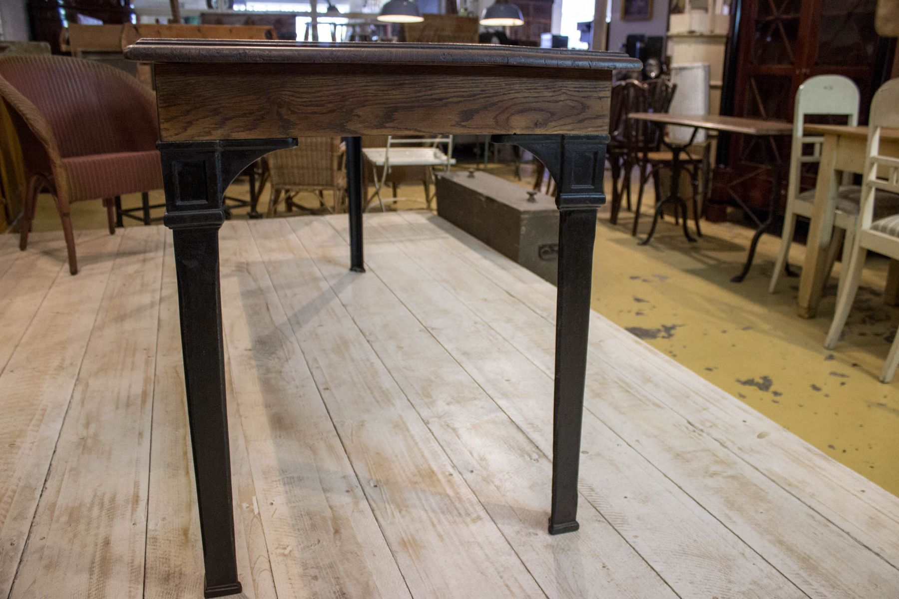 Vintage Oak Dining Table Vintage Oak Cast Iron Dining Table For Sale At Pamono