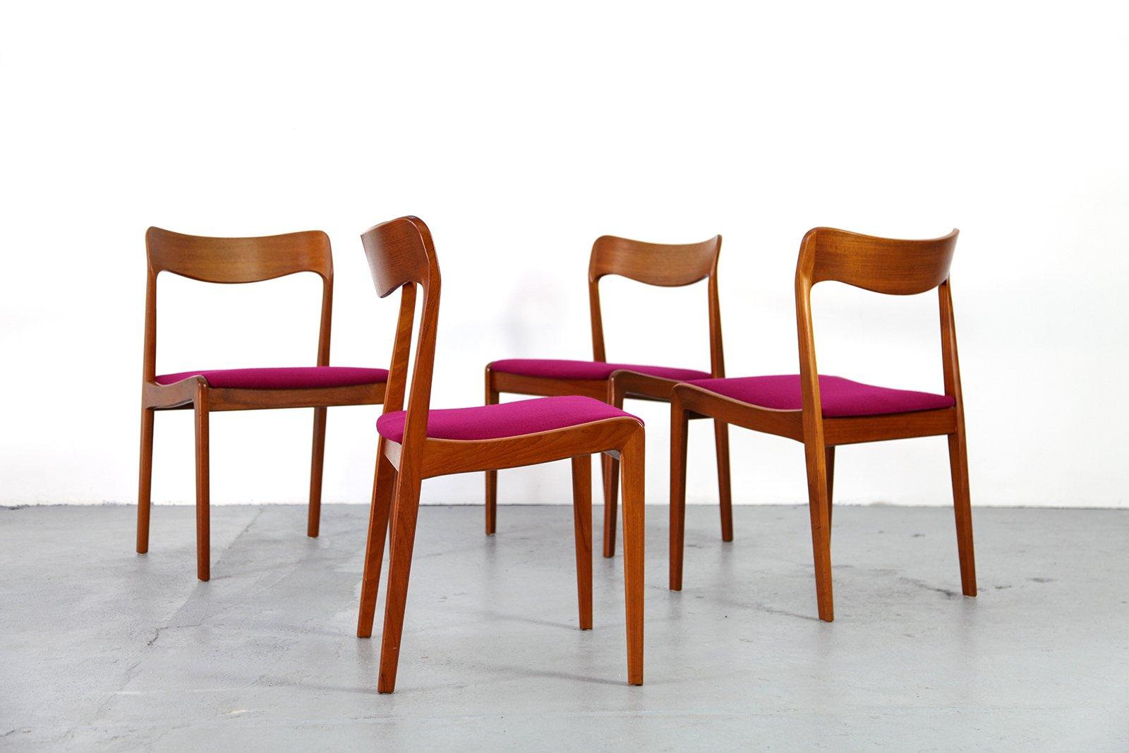 danish teak chairs 1960s set of 4 for sale at pamono
