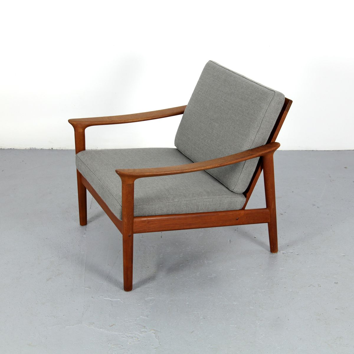 Grey Danish Teak Armchair, 1970s for sale at Pamono