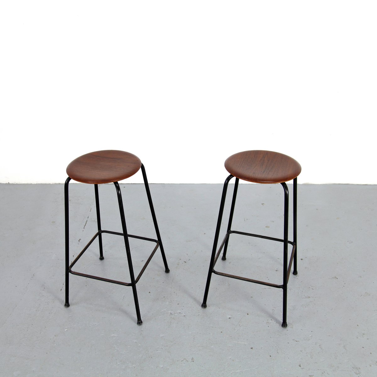 Danish Modern Teak Bar Stools From Duba Set Of 2 For Sale