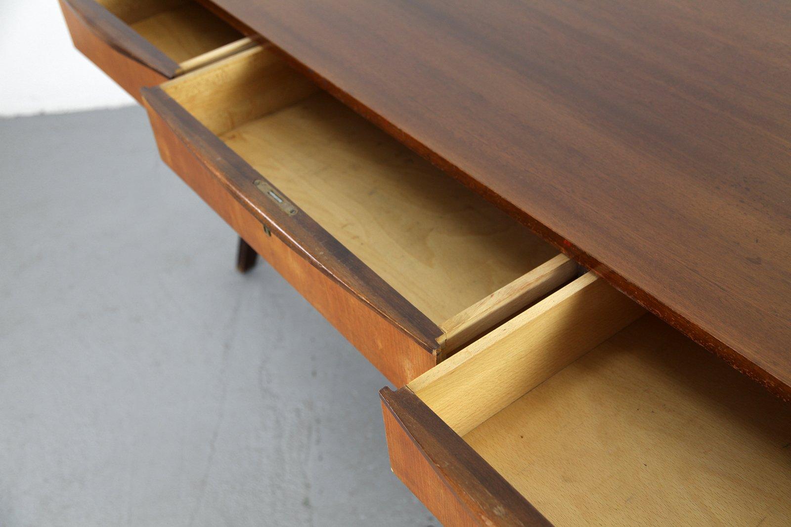 mid century nussbaum schreibtisch von behr m bel 1950er. Black Bedroom Furniture Sets. Home Design Ideas