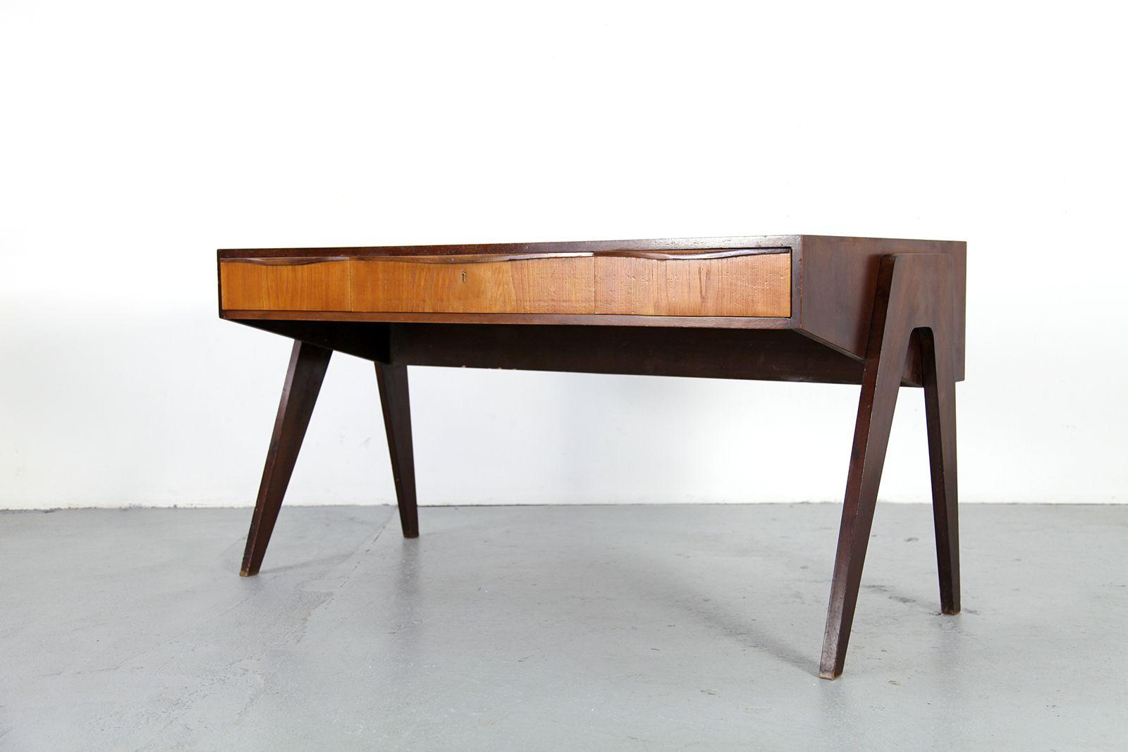 mid century walnut desk from behr m bel 1950s for sale at pamono. Black Bedroom Furniture Sets. Home Design Ideas