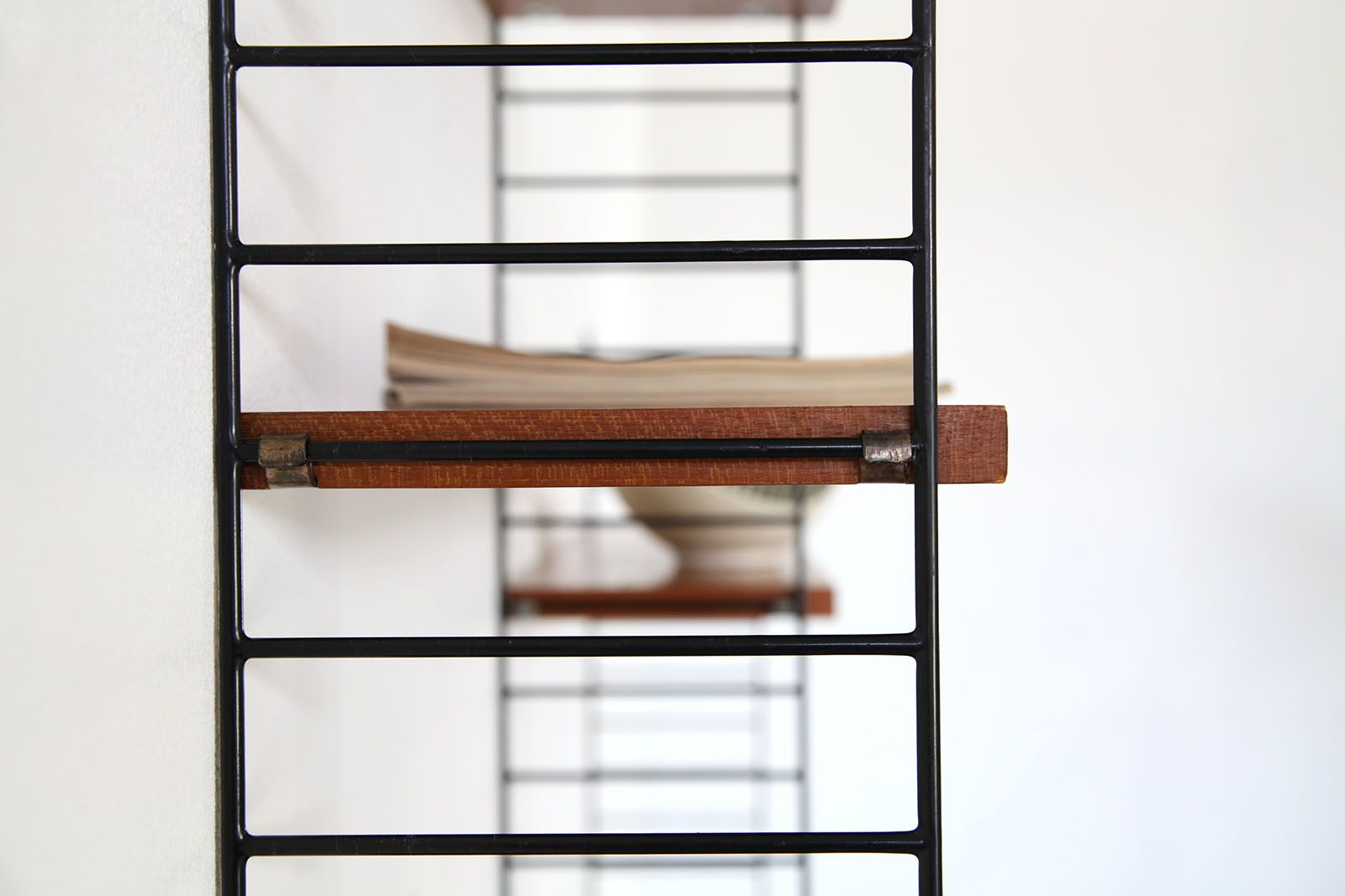Marvelous photograph of Vintage Teak Wall Unit by Nisse & Katja Strinning for String for sale  with #723D29 color and 1600x1067 pixels