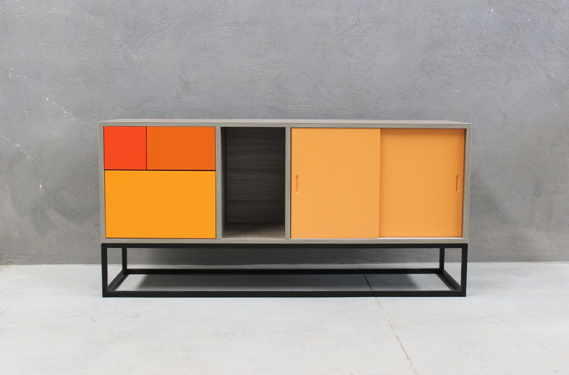 Orange real sideboard by studio deusdara for sale at pamono for Sideboard orange