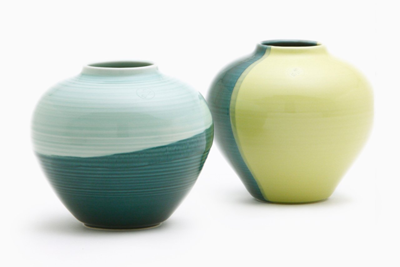 round vase in green aqua by asahiyaki for sale at pamono. Black Bedroom Furniture Sets. Home Design Ideas