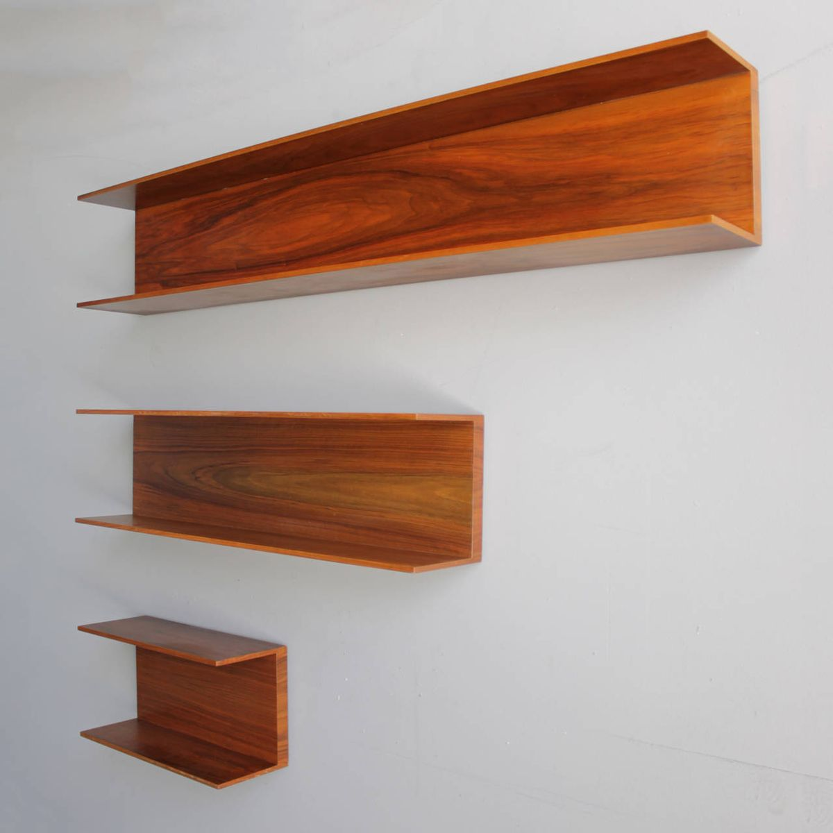 Walnut Wall Shelves By Wilhelm Renz 1960s Set Of 7 For