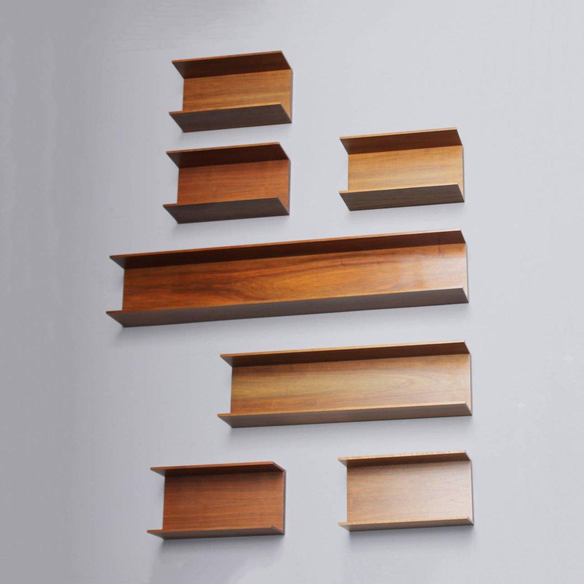 walnut wall shelves by wilhelm renz  1960s  set of 7 for walnut cube wall shelves walnut wall shelves with metal brackets