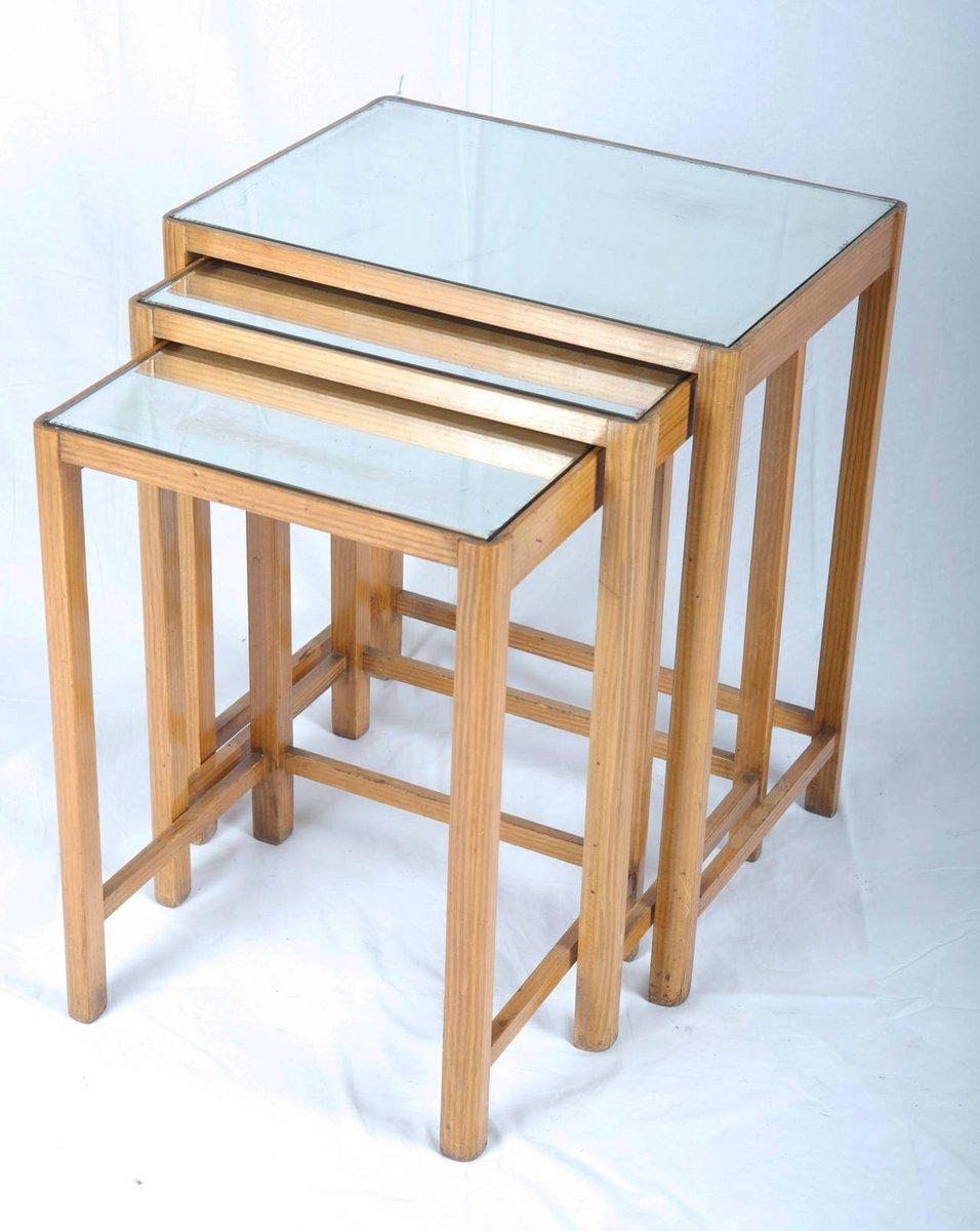 tables gigognes vintage avec dessus verre miroir 1930. Black Bedroom Furniture Sets. Home Design Ideas