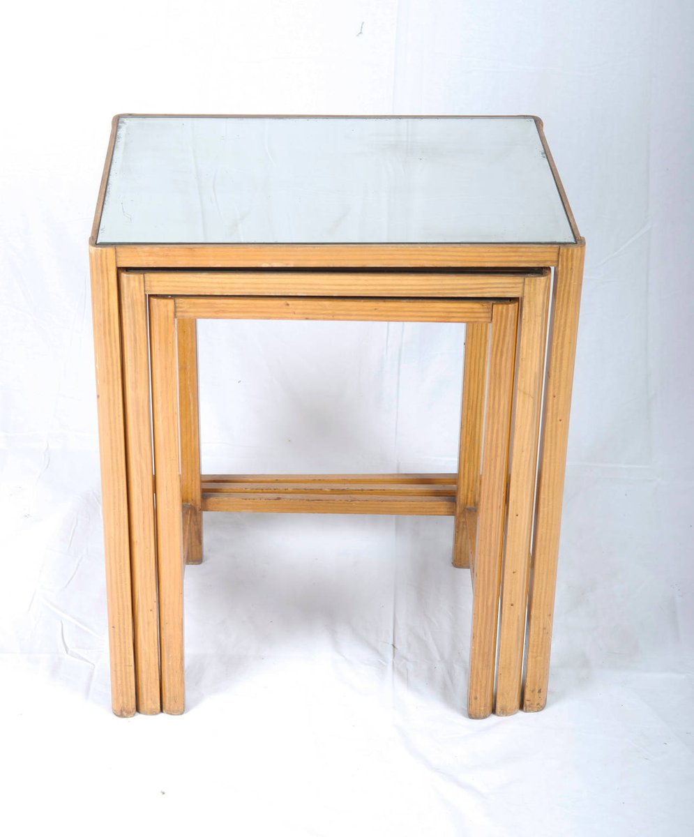 Vintage mirrored glass nesting tables set of for