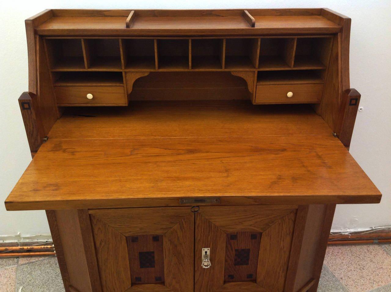 antique oak secretary desk for sale at pamono. Black Bedroom Furniture Sets. Home Design Ideas