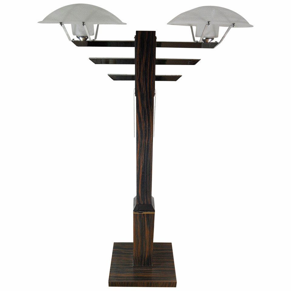 Vintage Art Deco Wooden Standing Lamp For Sale At Pamono