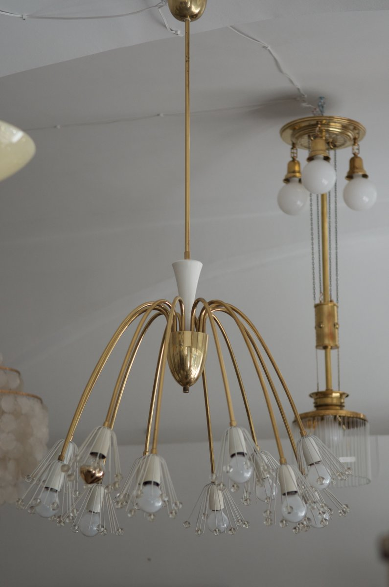 Large MidCentury Brass Chandelier by Emil Stejnar for Rupert – Large Brass Chandelier