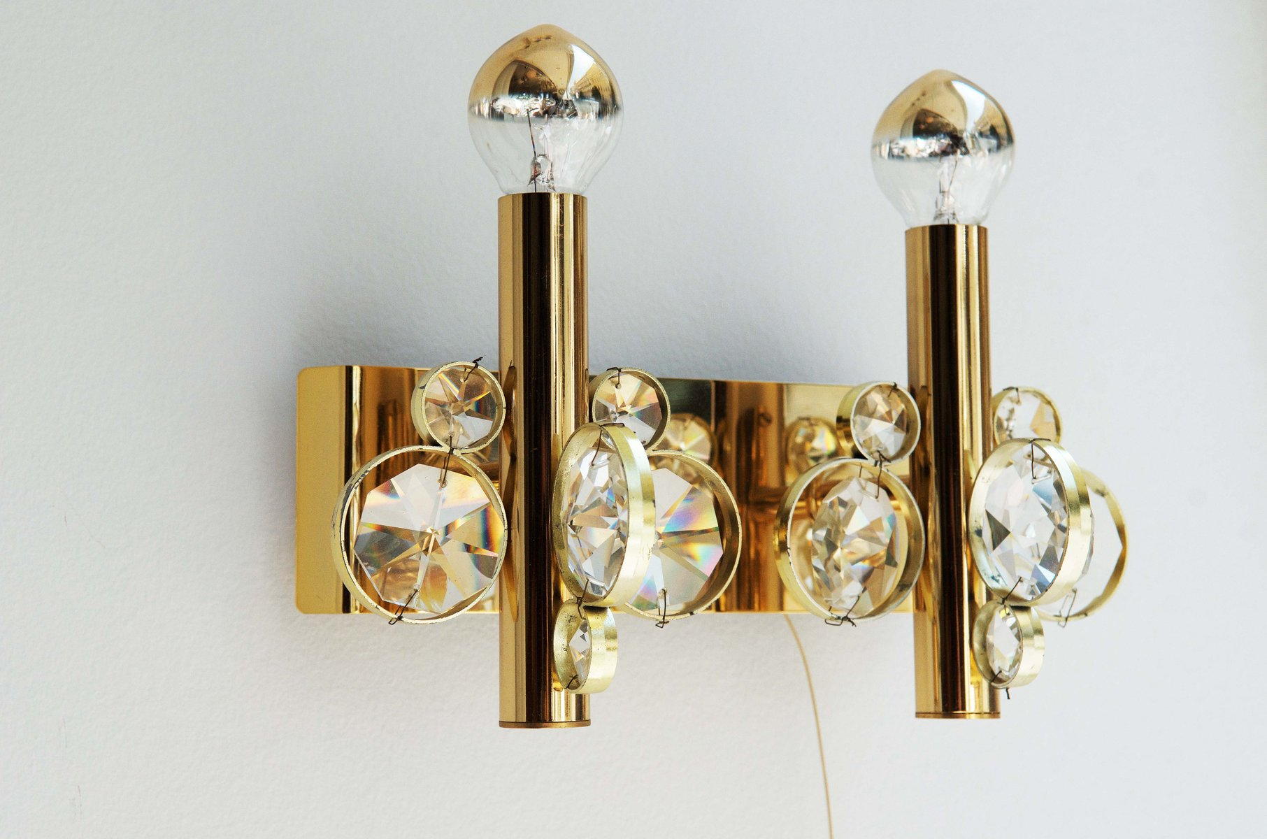 Vintage Cut Crystal Wall Sconce for sale at Pamono