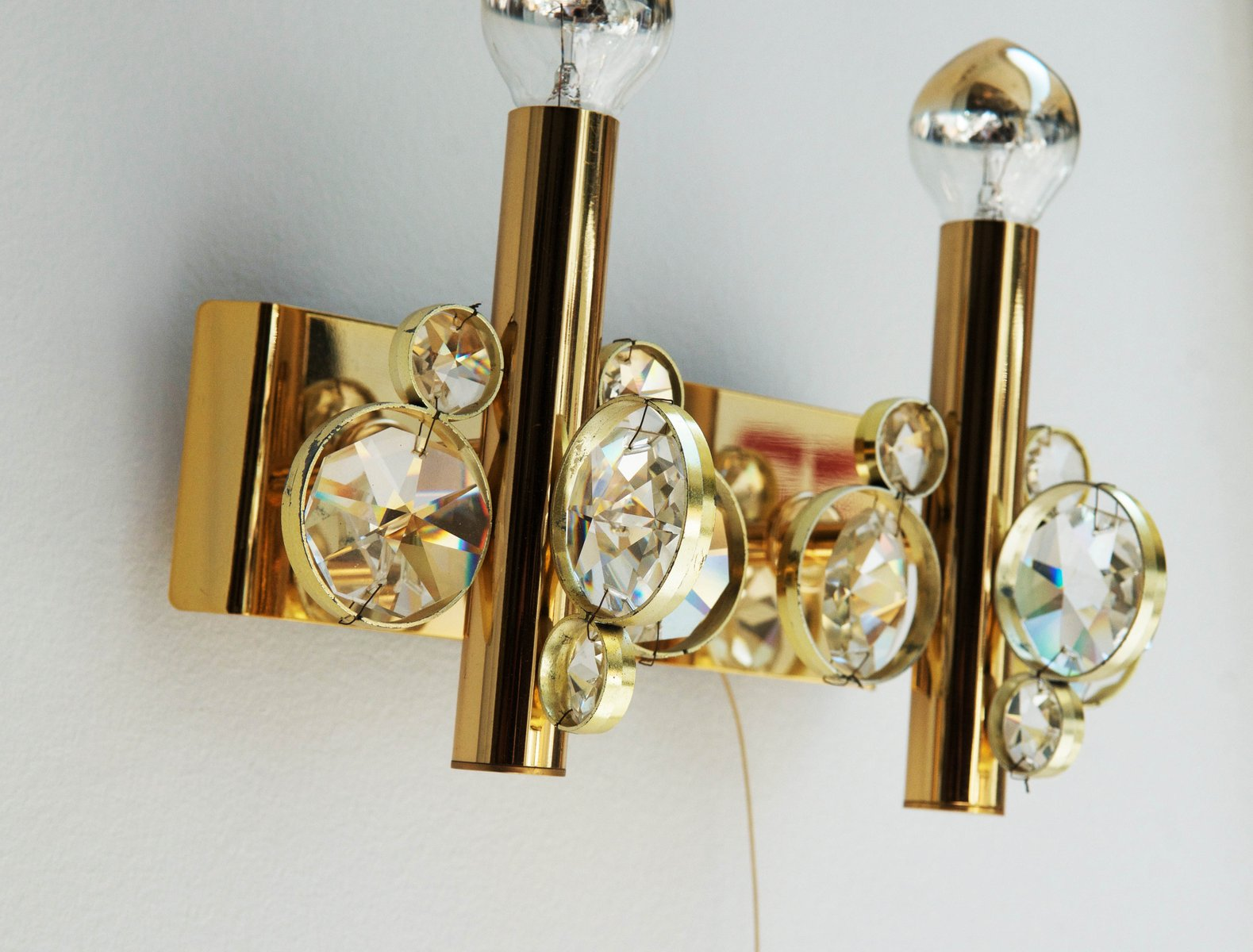 Vintage Crystal Wall Sconces : Vintage Cut Crystal Wall Sconce for sale at Pamono