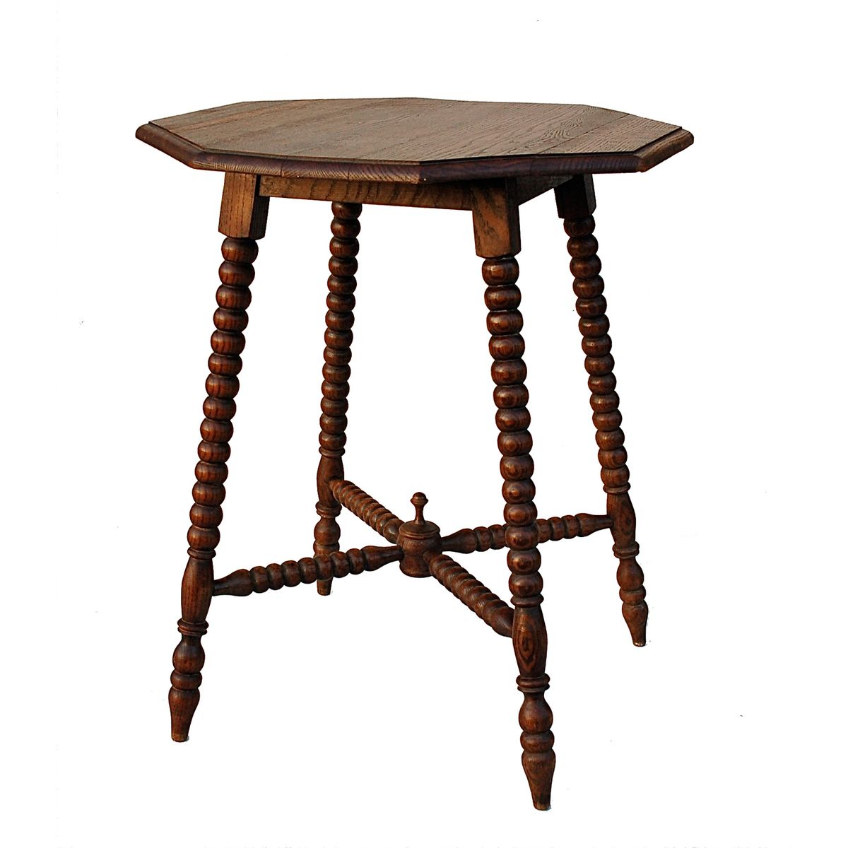 Mid century french bobbin side table with octagonal top for Table th visible