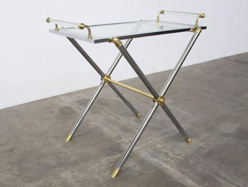 Vintage Brass U0026 Glass Serving Tray Table From Maison Jansen