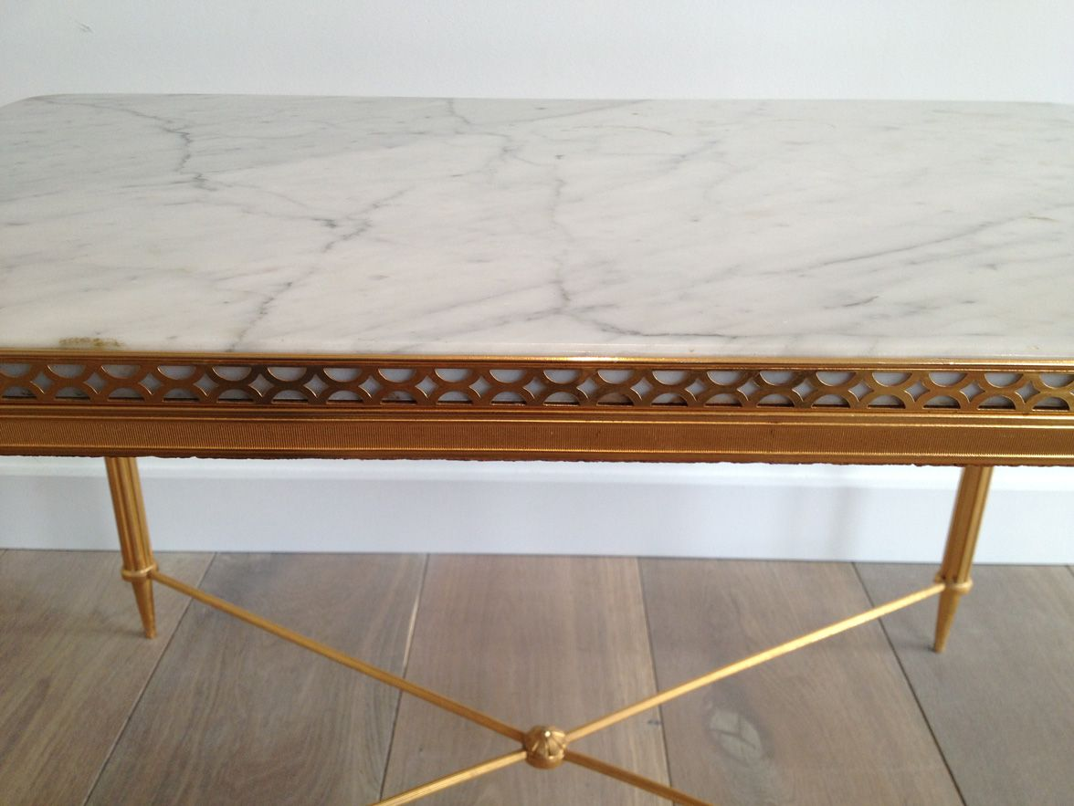Gilded metal coffee table with white marble top for sale for Metal coffee table with stone top