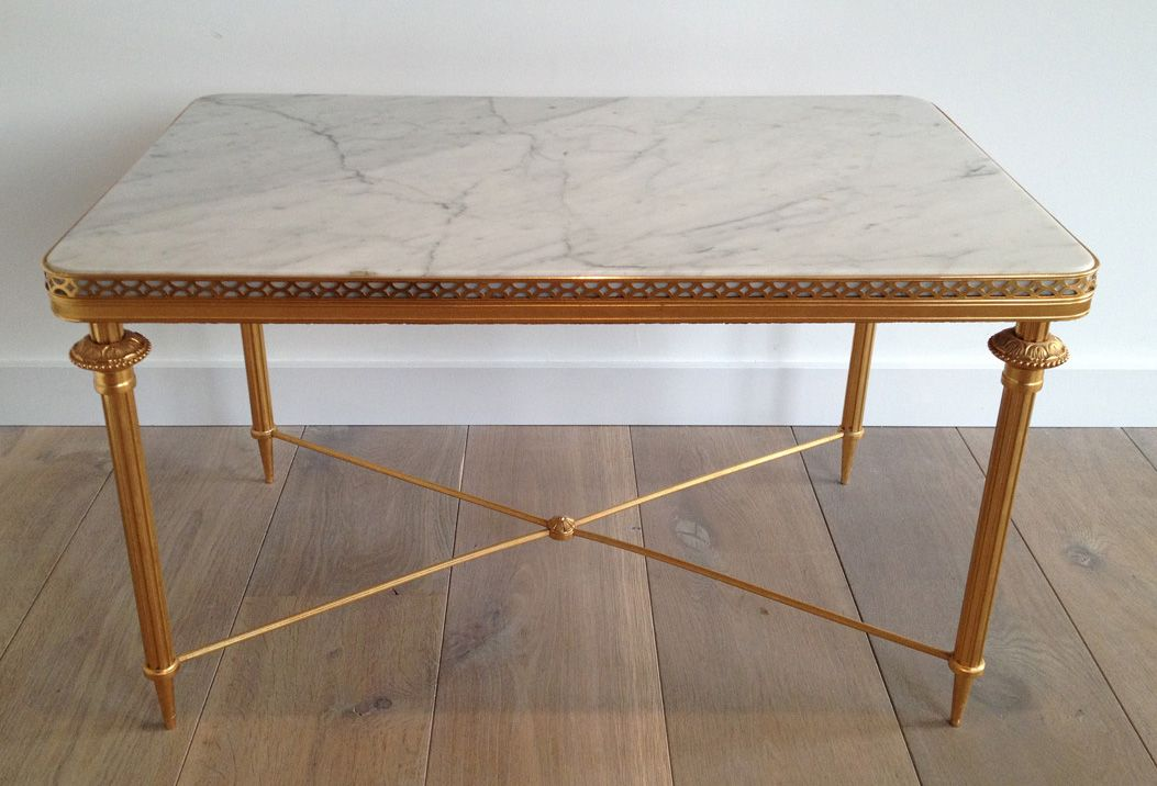 Gilded Metal Coffee Table With White Marble Top For Sale At Pamono