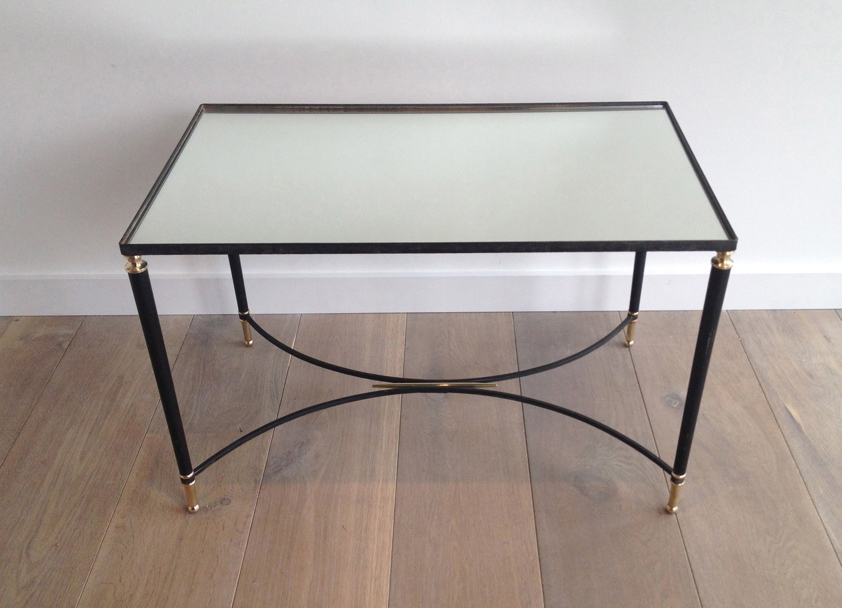 Black Lacquered Metal And Brass Coffee Table, 1950s