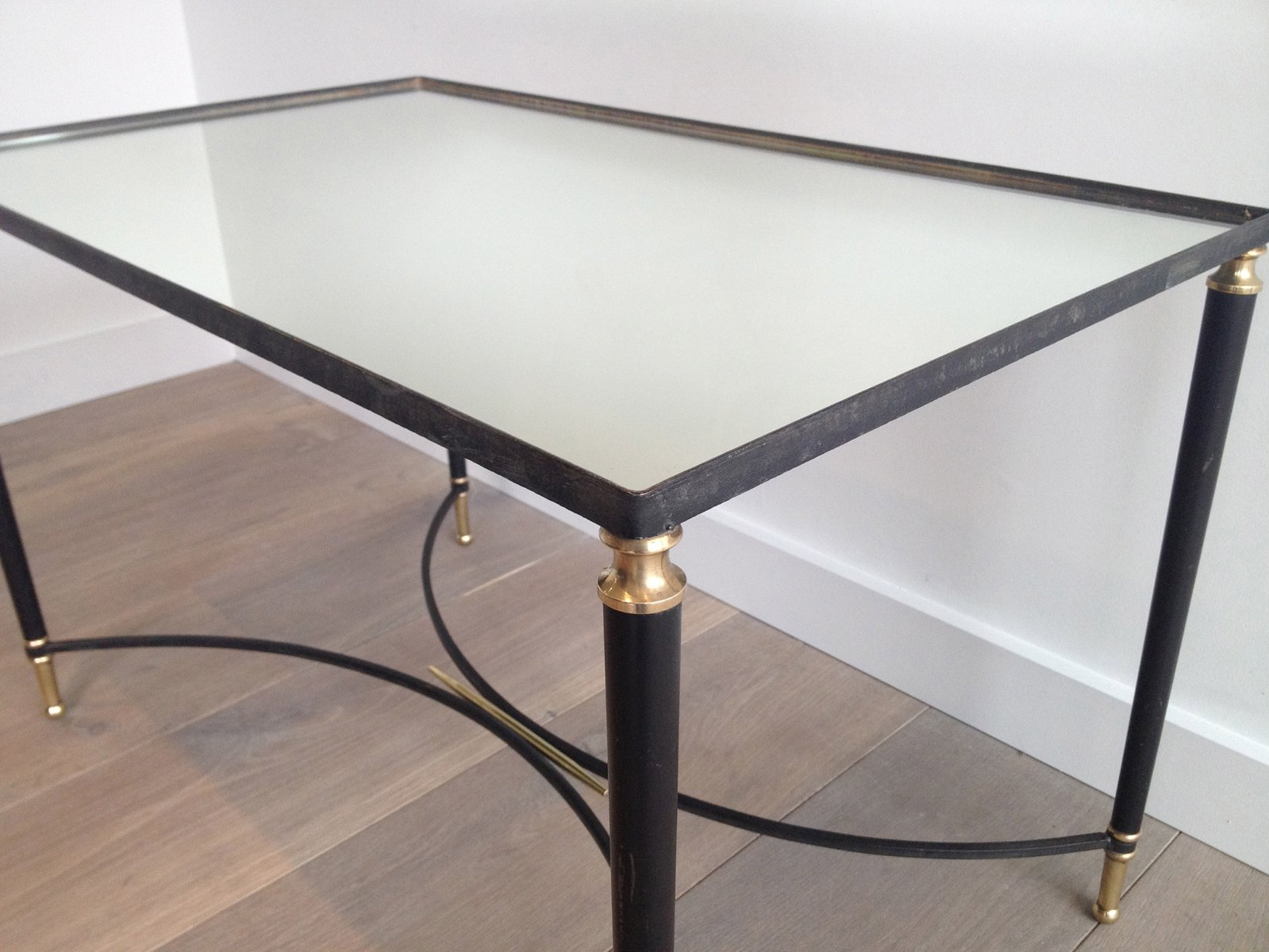 Black Lacquered Metal and Brass Coffee Table 1950s for sale at Pamono