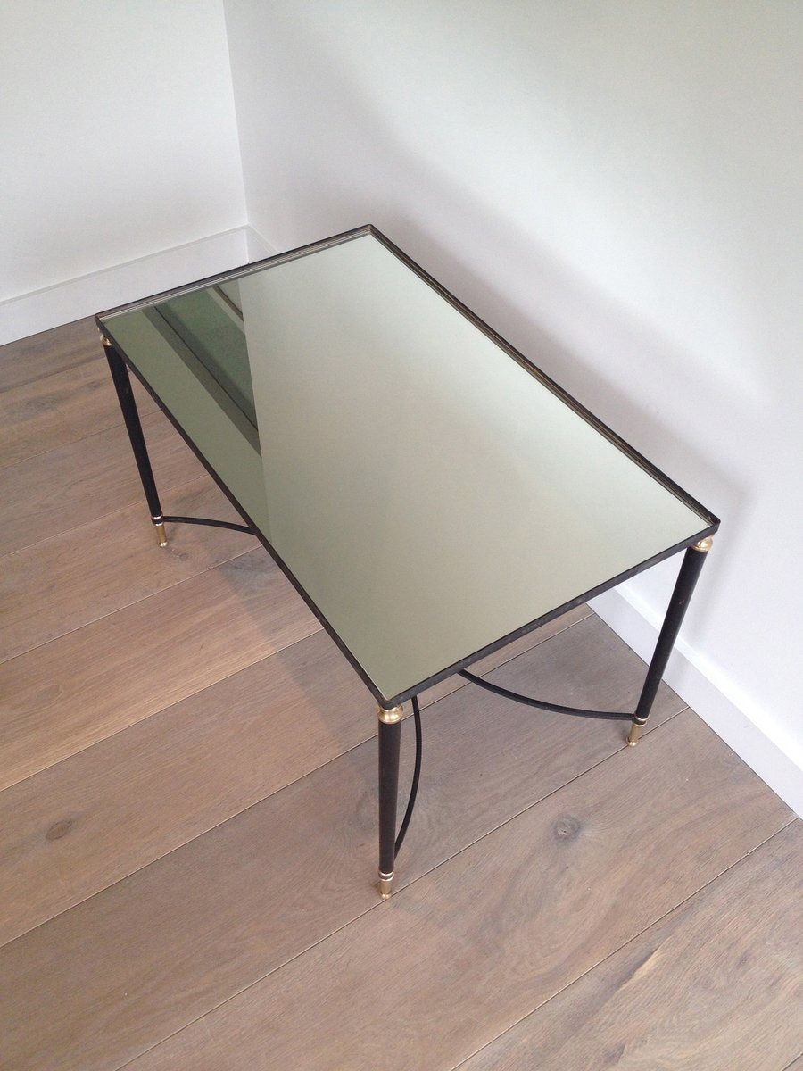 black lacquered metal and brass coffee table, 1950s for sale at pamono