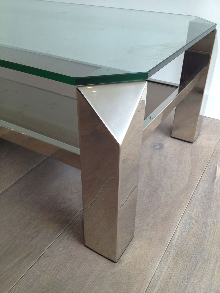 Vintage french chrome coffee table for sale at pamono vintage french chrome coffee table 9 90000 geotapseo Images