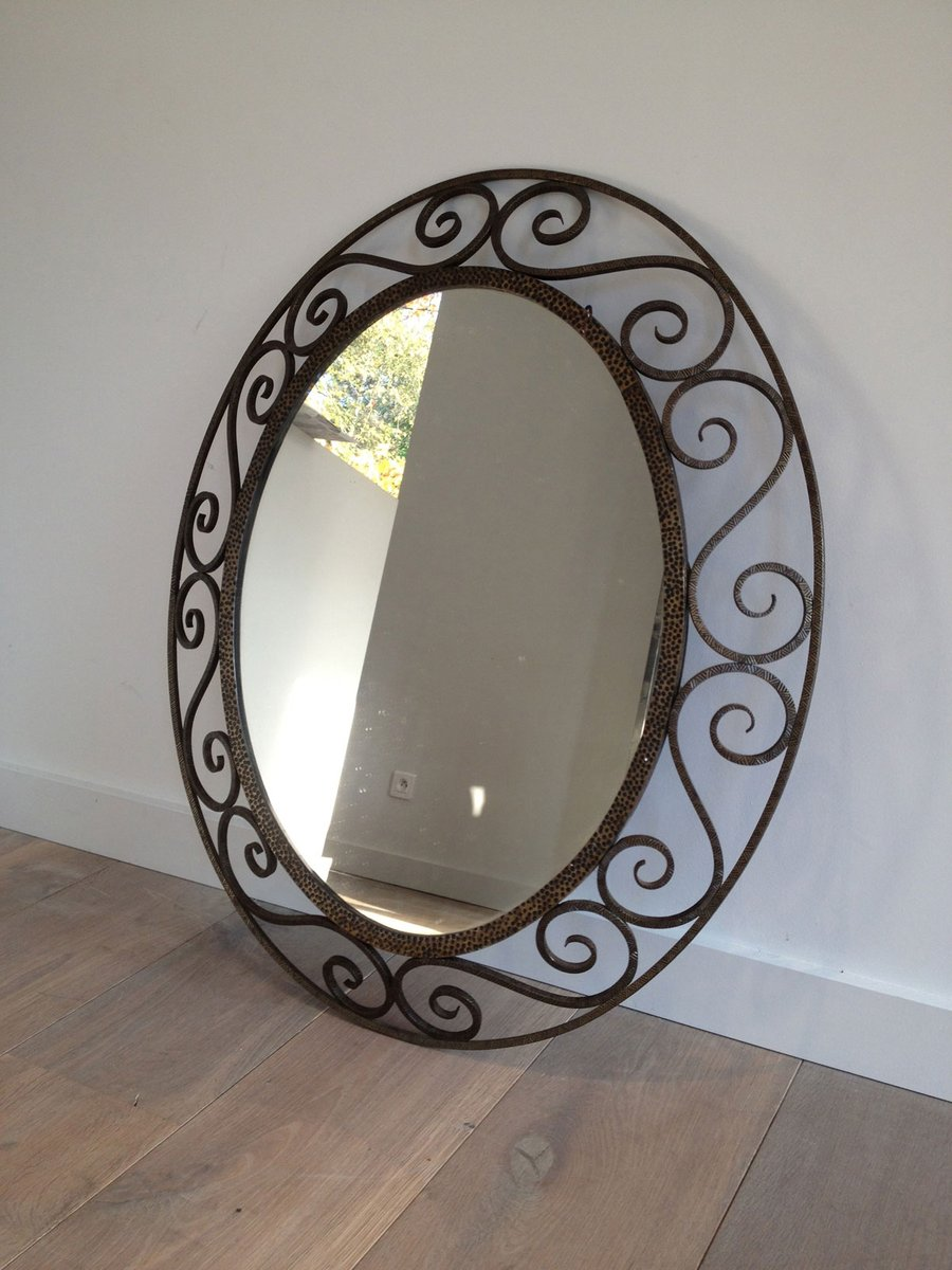 Vintage wrought iron oval mirror for sale at pamono for Wrought iron mirror