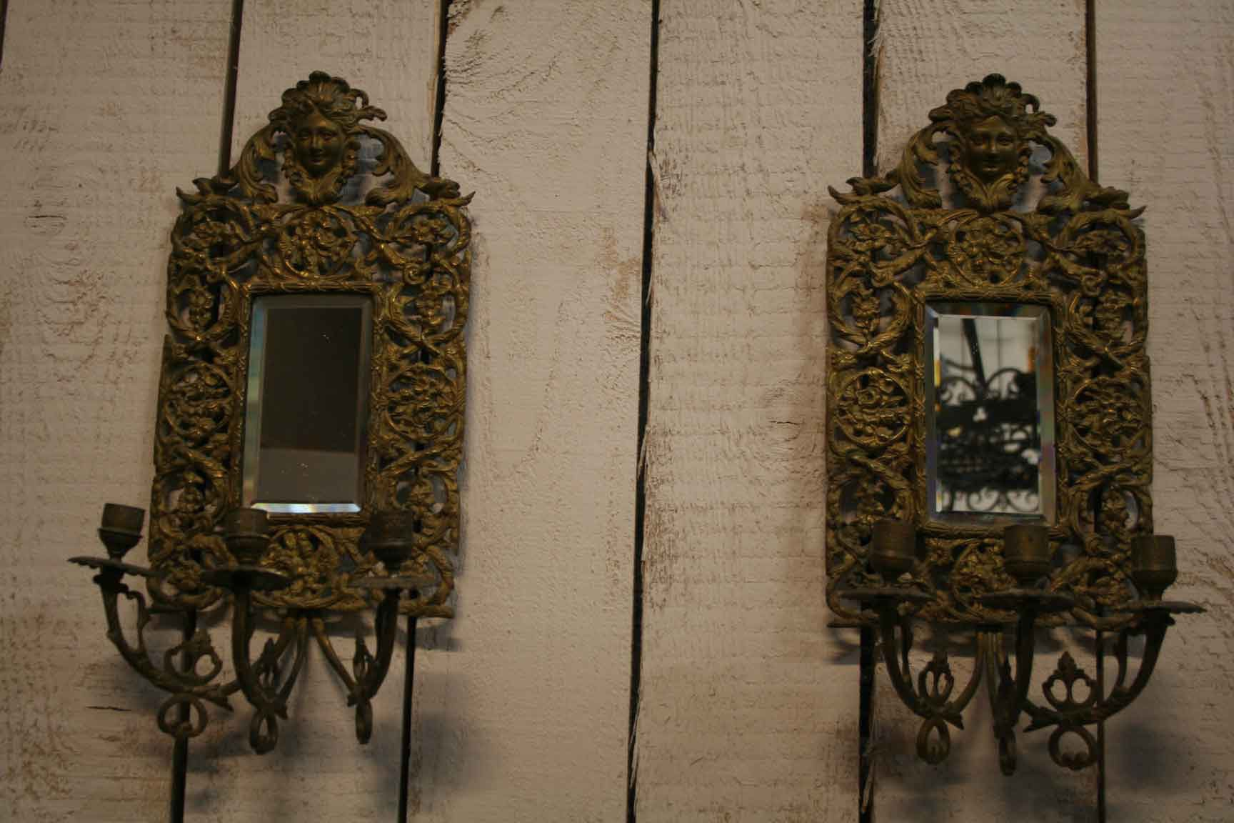 Antique Bronze Wall Mirrored Sconces, Set of 2 for sale at Pamono