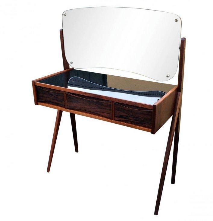 schminktisch aus palisanderholz mit spiegel bei pamono kaufen. Black Bedroom Furniture Sets. Home Design Ideas