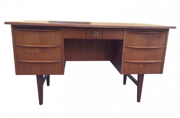 Teak office desk for sale at pamono - Teak office desk ...