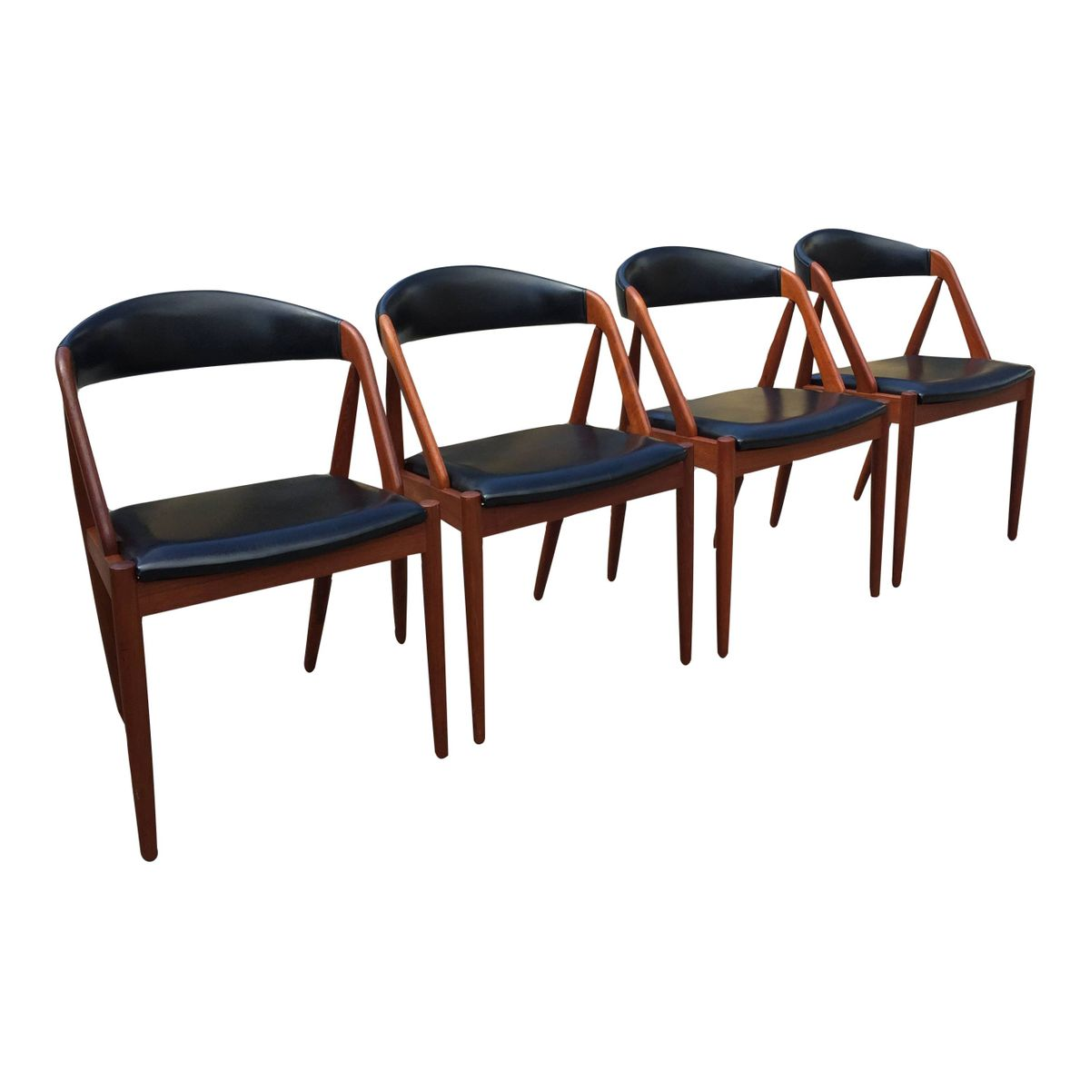 Teak leather dining chairs by kai kristiansen for gudme m belfabrik set of 4 for sale at pamono - Kai kristiansen chairs ...