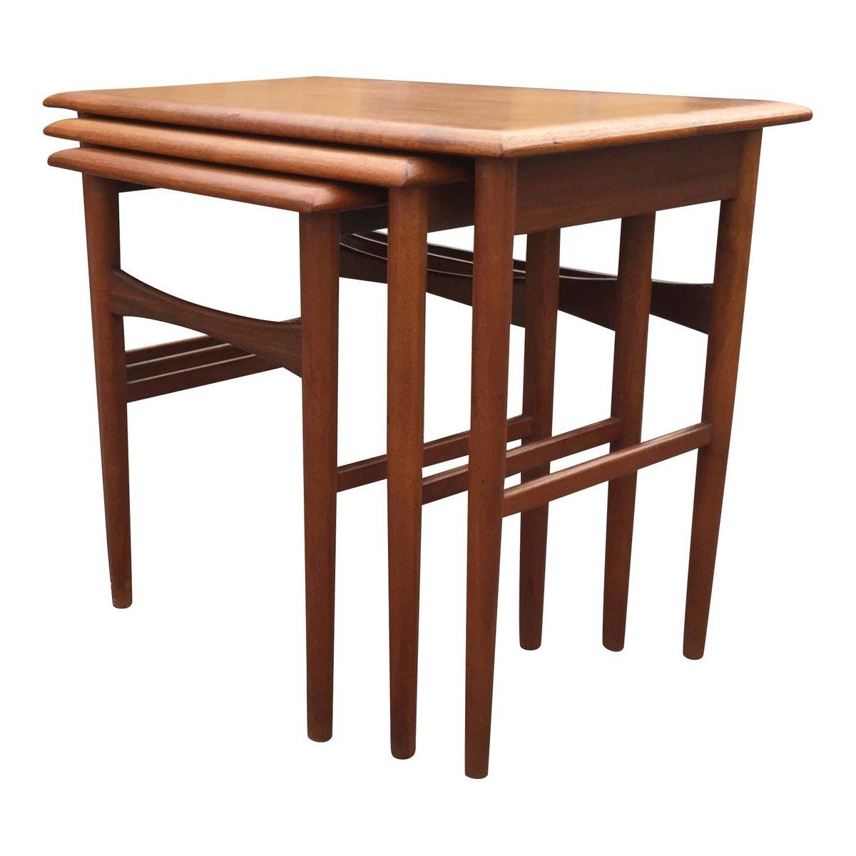 Vintage danish teak nesting tables set of for sale at