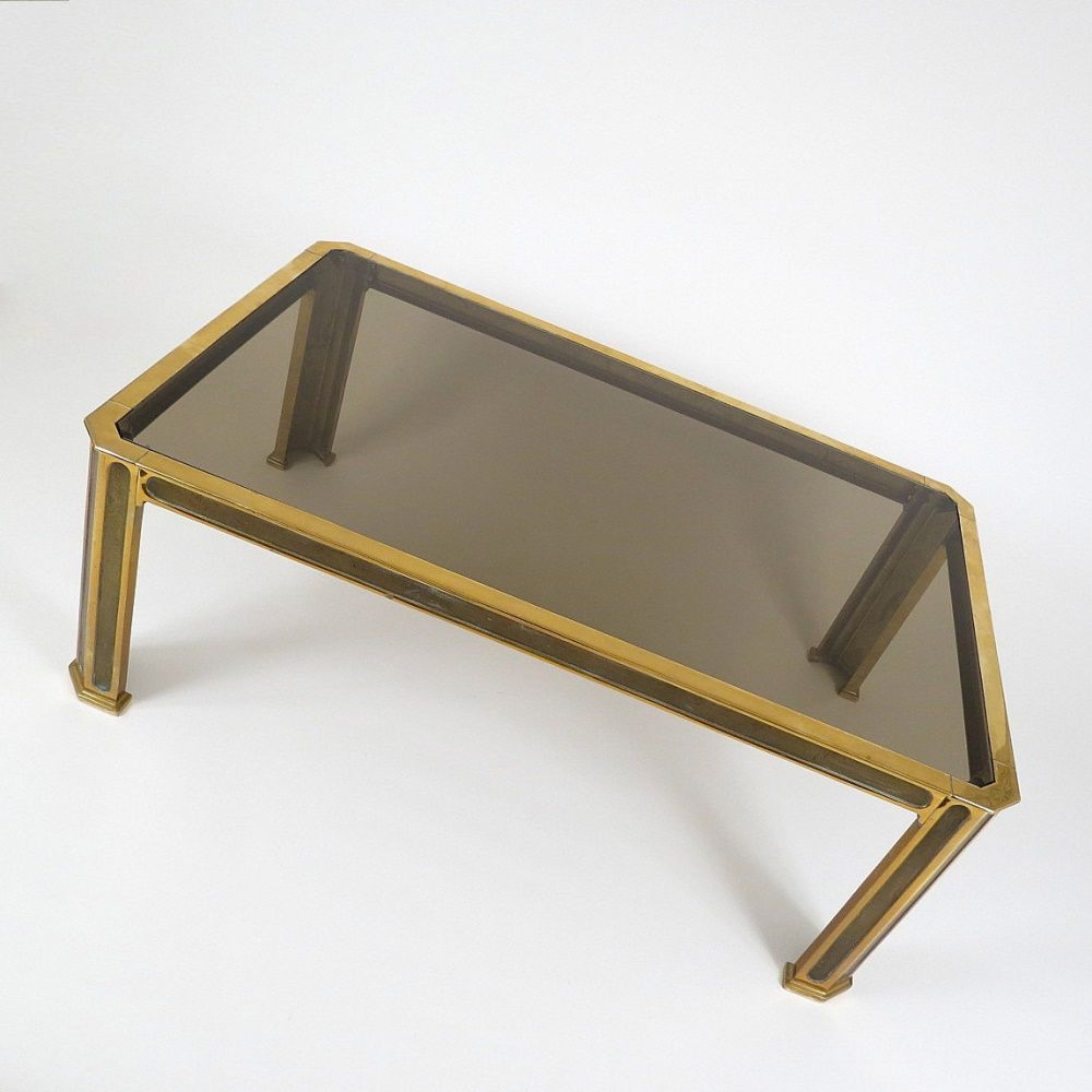 Brass And Smoked Glass Coffee Table 1970s For Sale At Pamono