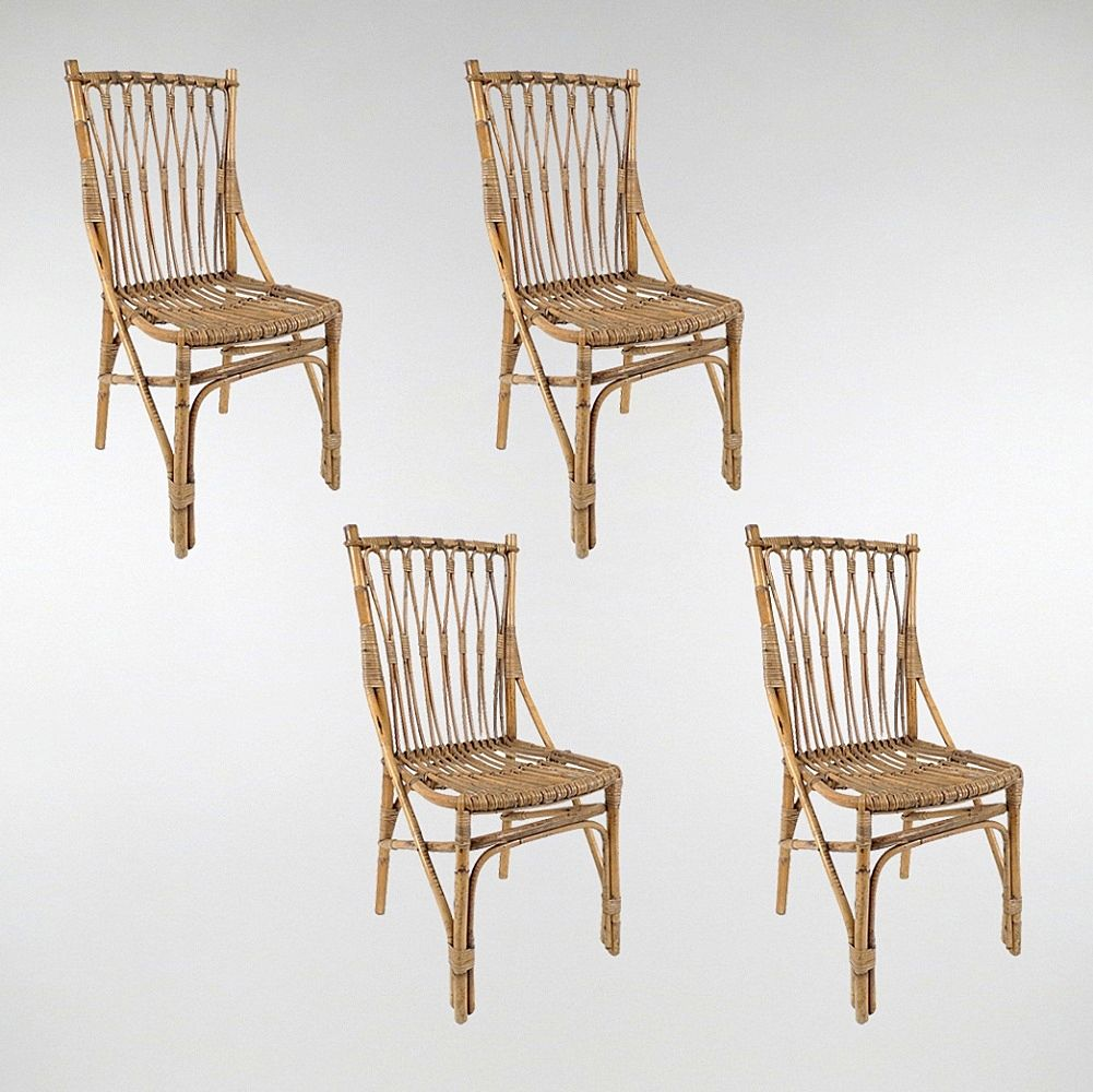 dutch rattan dining chairs set of 4 for sale at pamono. Black Bedroom Furniture Sets. Home Design Ideas