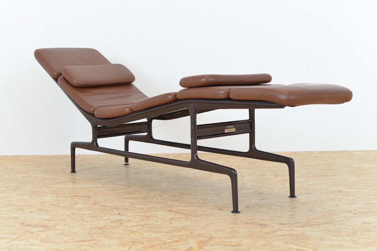Brown Leather ES 106 Chaise Longue by Ray and Charles Eames for Vitra ...