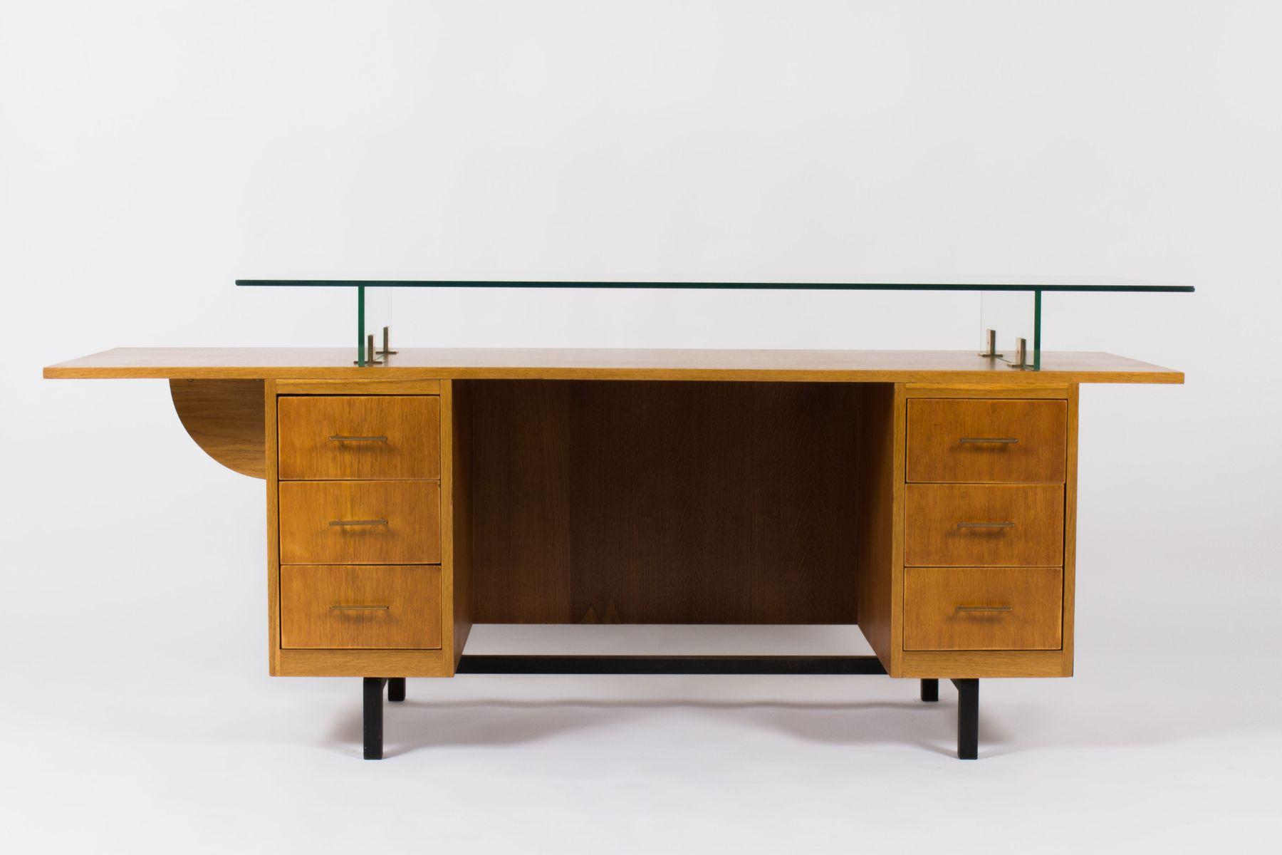 franz sischer schreibtisch aus eichenholz mit glasplatte 1950er bei pamono kaufen. Black Bedroom Furniture Sets. Home Design Ideas