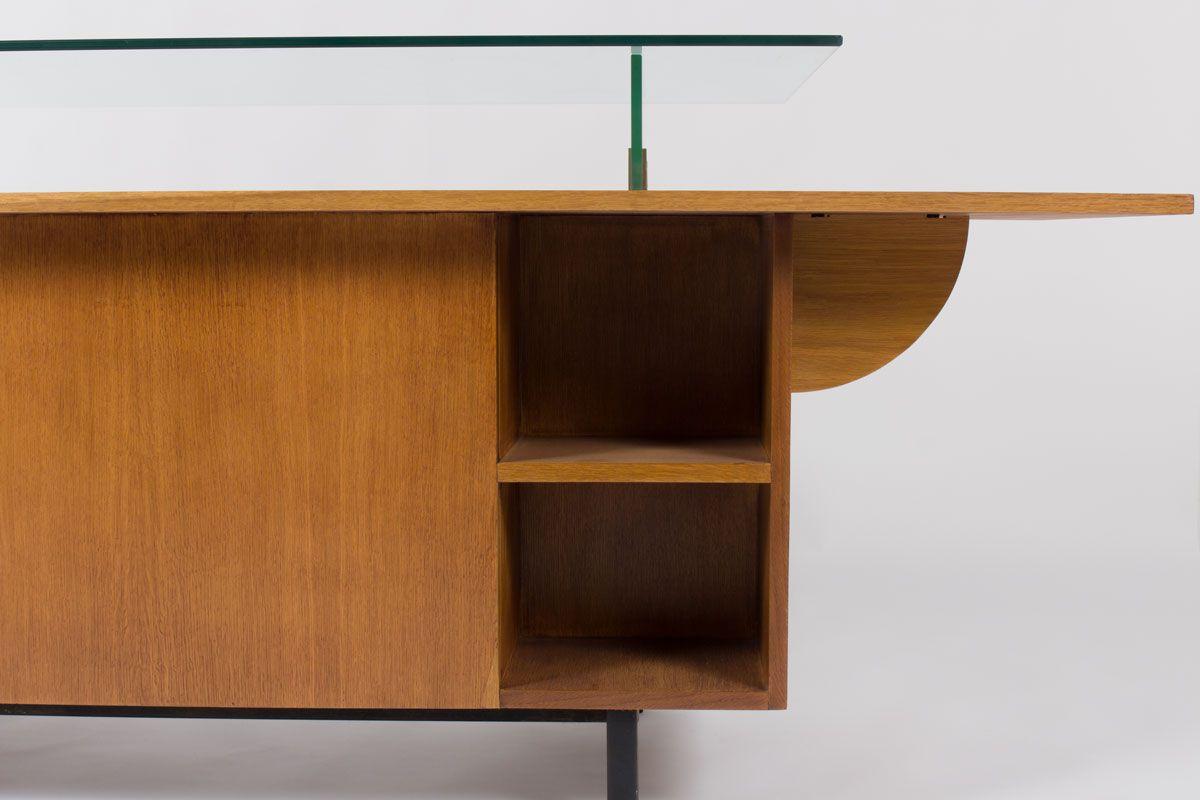 franz sischer schreibtisch aus eichenholz mit glasplatte. Black Bedroom Furniture Sets. Home Design Ideas