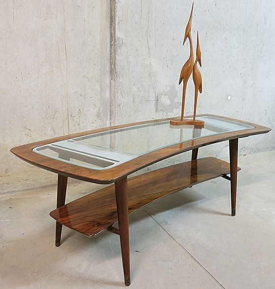 Walnut Glass Coffee Table From Cassina For Sale At Pamono