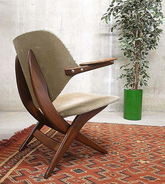 Vintage pelikan stuhl von louis van teeffelen f r webe bei for Stuhl designklassiker vintage