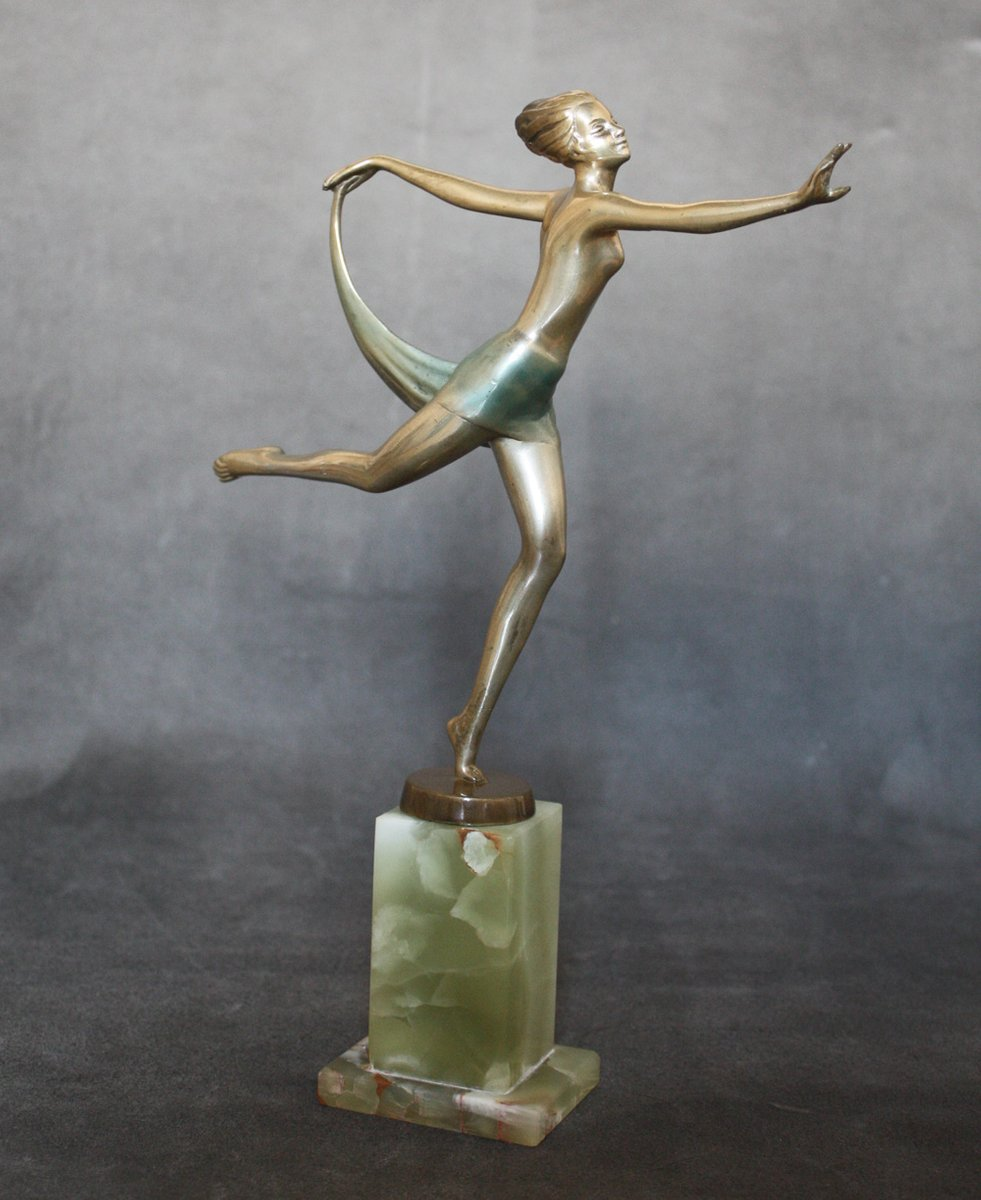 dancer art deco bronze statue by josef lorenzl ca 1930 for sale at pamono. Black Bedroom Furniture Sets. Home Design Ideas