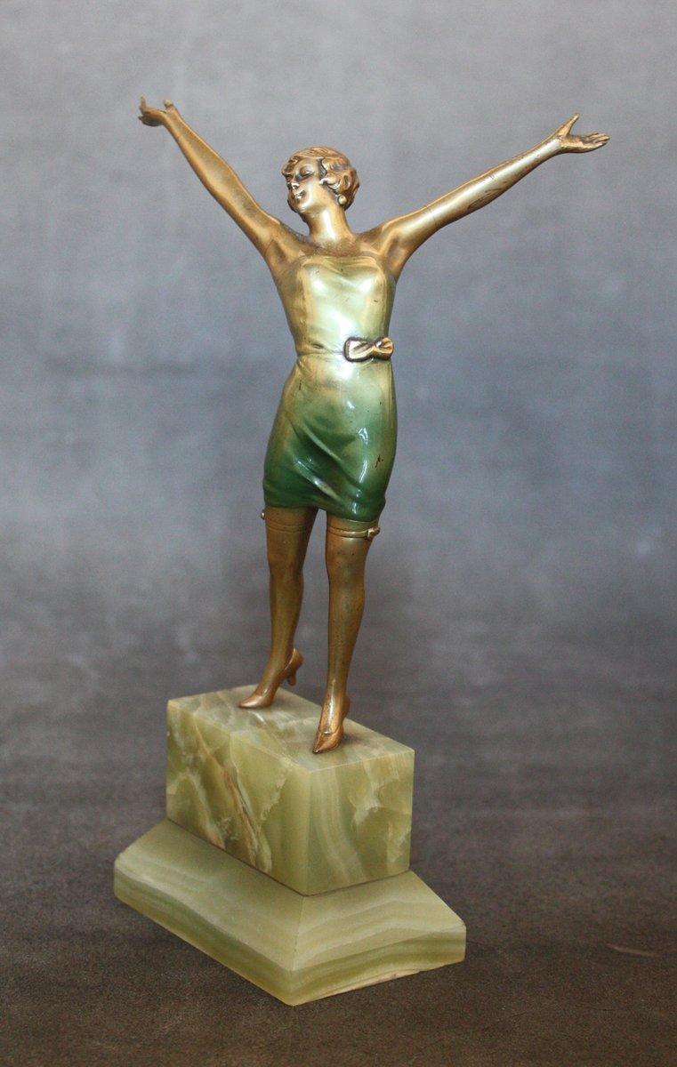 cabaret art deco bronze statue by josef lorenzl 1930s for sale at pamono. Black Bedroom Furniture Sets. Home Design Ideas