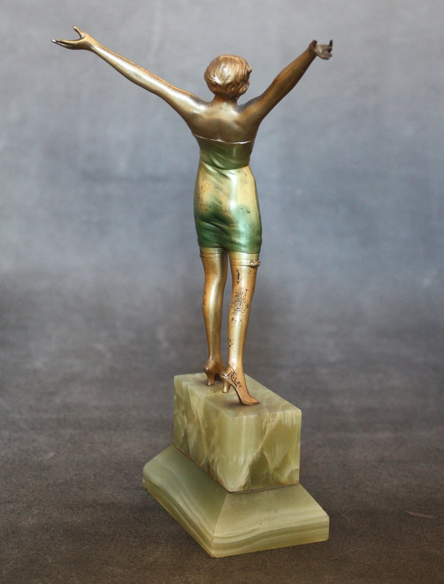 cabaret art deco bronze statue by josef lorenzl 1930s for sale at pamono. Black Bedroom Furniture Sets. Home Design Ideas