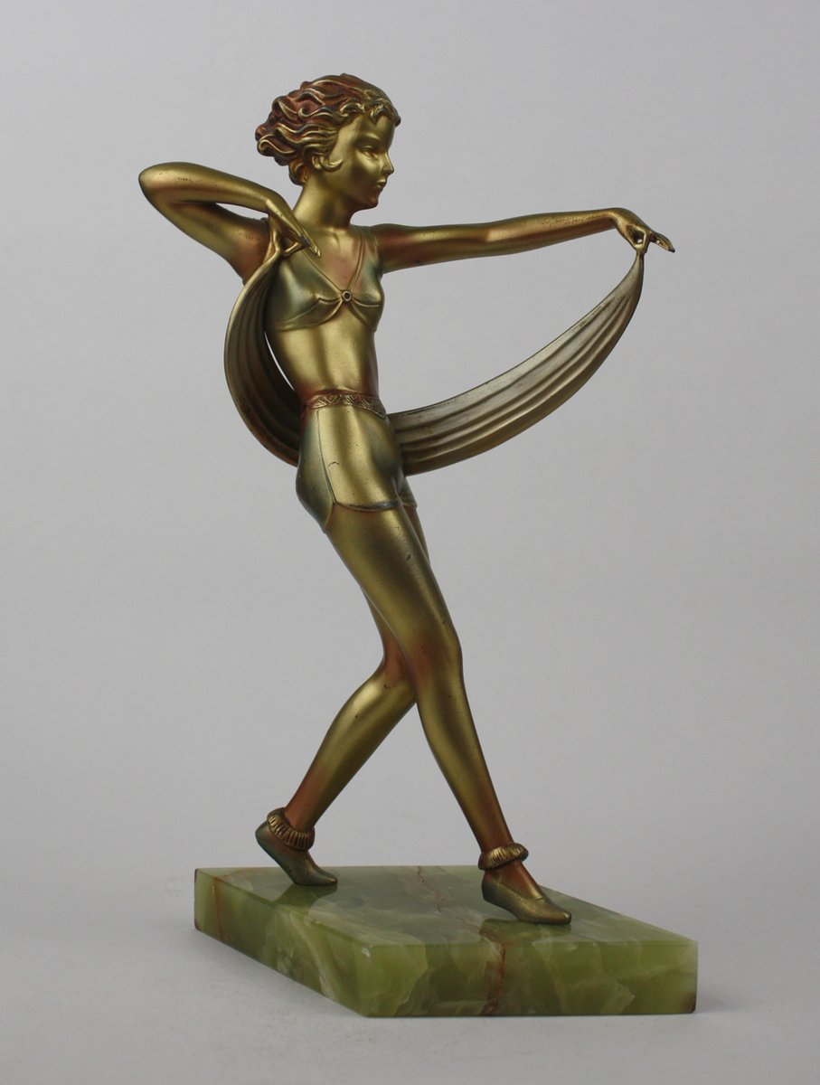 Art deco spelter figure by josef lorenzl 1930s for sale for Miroir art deco 1930