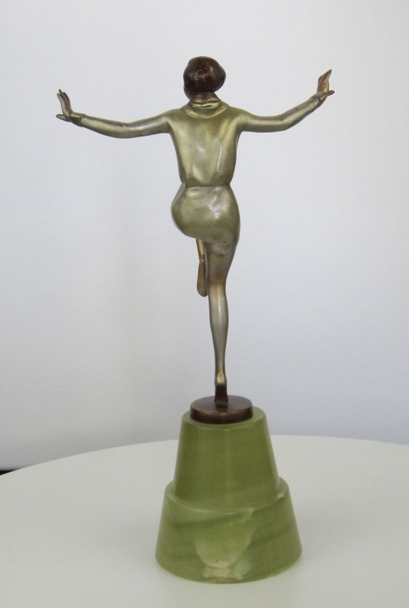 art deco bronze statue by josef lorenzl 1930s for sale at pamono. Black Bedroom Furniture Sets. Home Design Ideas