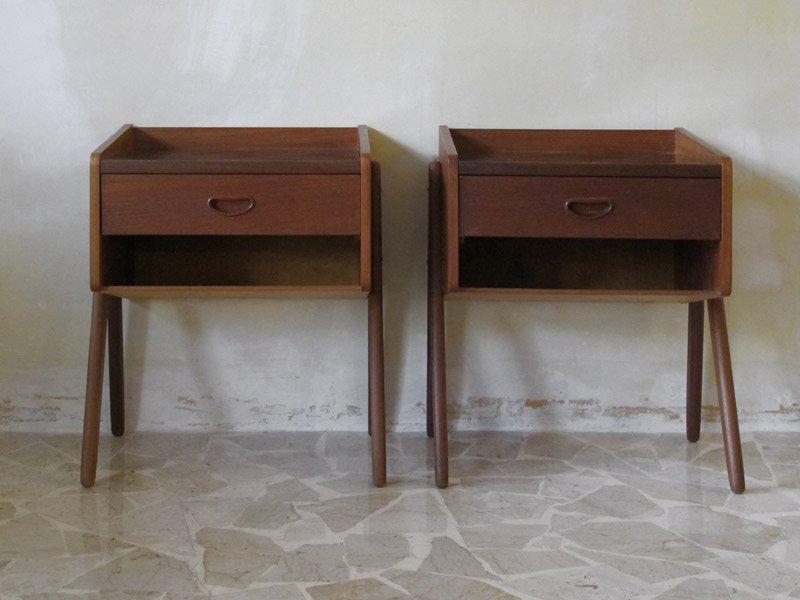 Vintage Danish Bed Side Tables Set Of 2 For Sale At Pamono